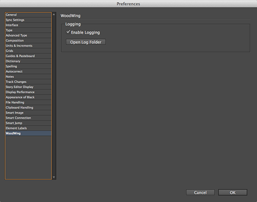 Elvis InDesign client preferences