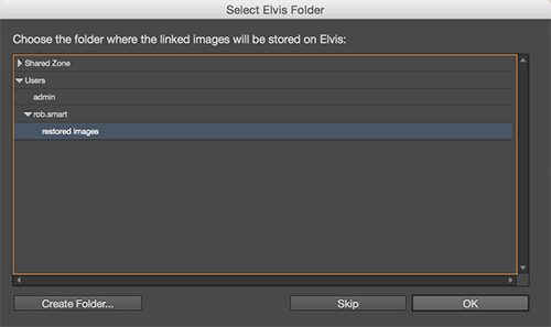The Select Elvis Folder dialog