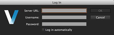 The Elvis Server Log In dialog box