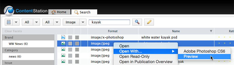 Choosing to open an image with Preview