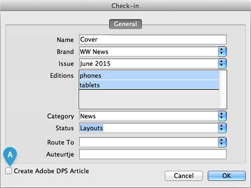 The Create Adobe DPS check box