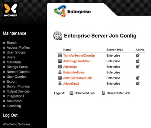 The Enterprise Server Job Config page