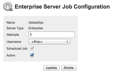 The AdobeDPS Server Job configuration page