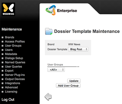 The Dossier Template Maintenance page
