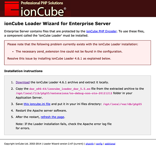 The ionCube Loader Wizard page