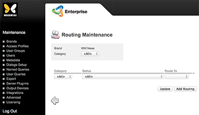 The Routing Maintenance page