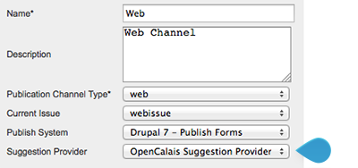 The Suggestion Provider list on the Publication Channel Maintenance page