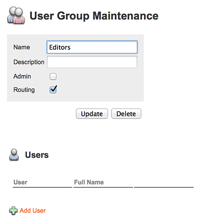 The Users section on the User Group page