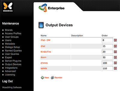 The Output Devices page