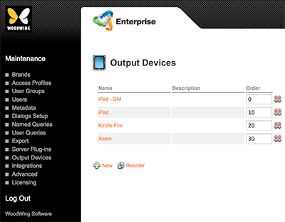 The Output Devices Maintenance page