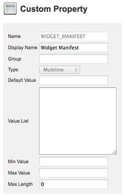 The Widget Manifest custom property