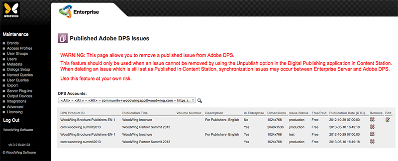 The Adobe DPS Issues Maintenance page