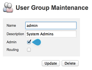 The Admin option on the User Group Maintenance page