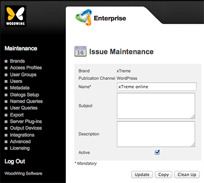 The Issue Maintenance page for WordPress