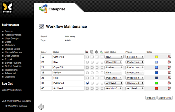 The Workflow Maintenance page set up for articles
