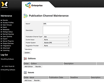 The Publication Channel Maintenance page for DPS