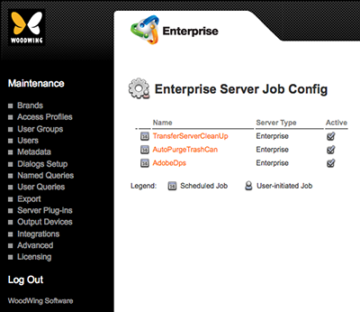 The Enterprise Server Job Config page