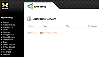 The Enterprise Servers page