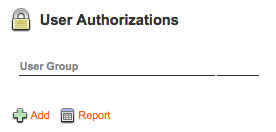 The User Authorizations screen