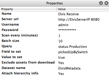 Elvis Receive configurator properties