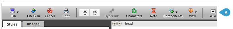 A custom butto added to the toolbar of the text editor