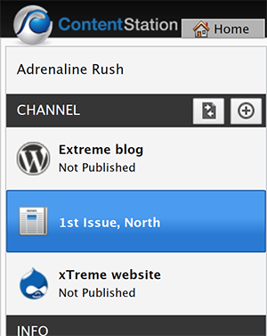 The Print Publication Channel selected in the Channel pane