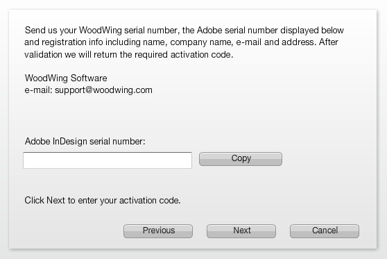 The screen showing the Adobe serial number