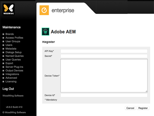 The page for registering Adobe AEM