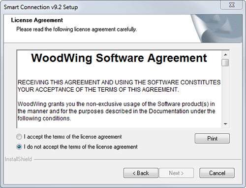 The License Agreement screen