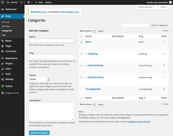 The WordPress Categories screen