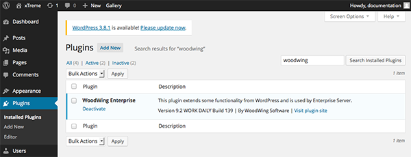 The WoodWingplugin installed in WordPress