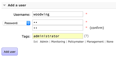 Creating an admin user for RabbitMQ
