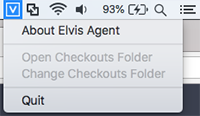 The Elvis Agent menu