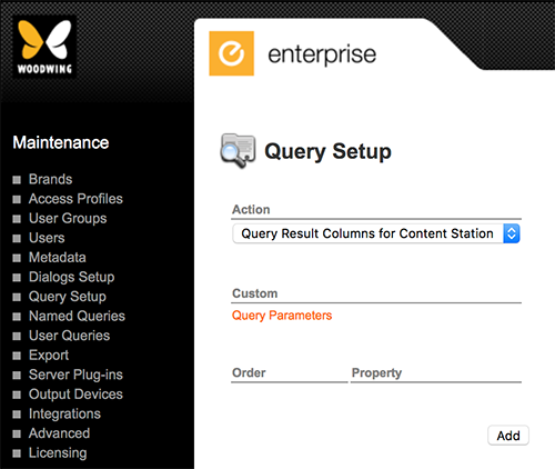 The Query Setup page