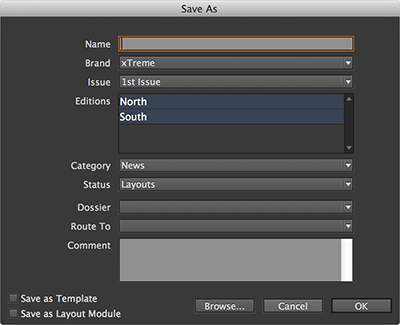 The Save As dialog box for a layout