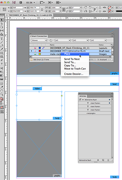 Example of placing multiple files onto a layout, scenario before placing
