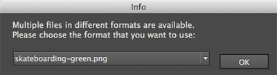 The dialog box for choosing the image