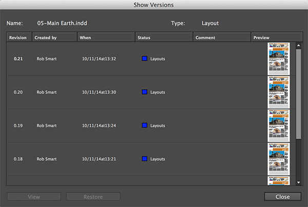 The Show Versions dialog box