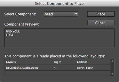 The dialog box for selecting the article component to place