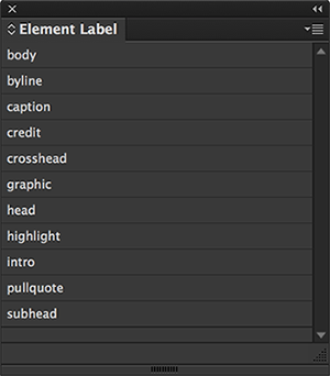 The Element Label panel