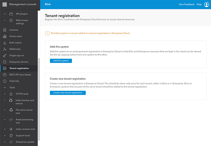 The Tenant registration page in the Management Console of Elvis Server