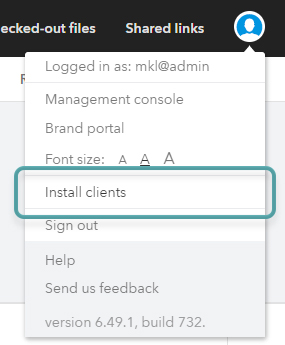 The Install Clients option in the avatar menu.