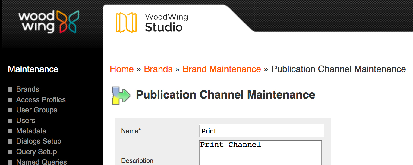 Breadcrumb navigation on a Maintenance page.