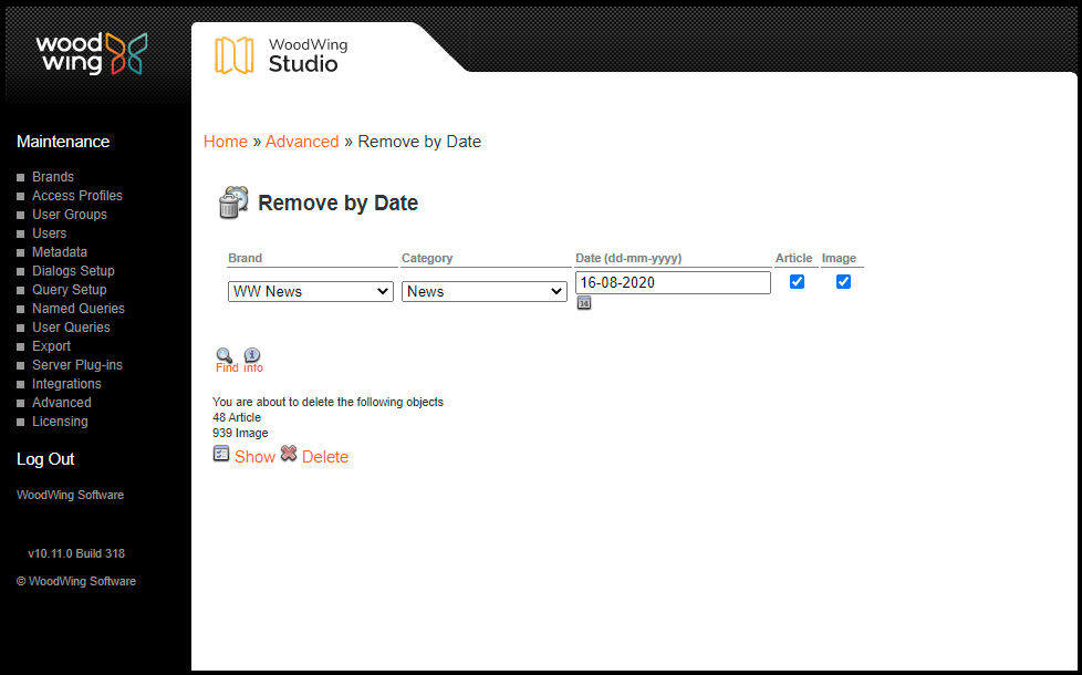 The Remove by Date page