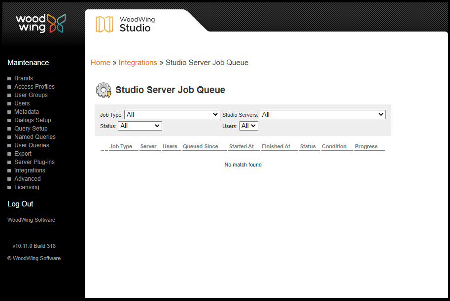 The Studio Server Job queue with Jobs
