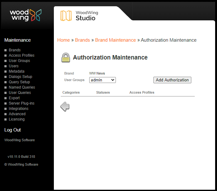 The user authorization maintenance page