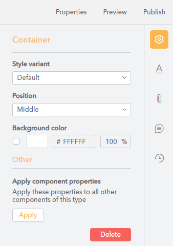 The Container component properties